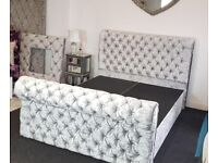 Crushed Velvet Sleigh beds - 18 Different Colours