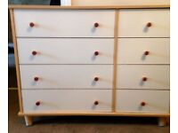 Beech and white chest of drawers wardrobe and corner shelving unit