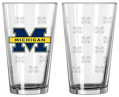 Michigan Wolverines Satin Etch Pint Glass Set of 2 [NEW] NCAA Drink Bar Cup 16oz