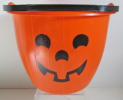 Halloween 139 Vintage Candy Bucket/Pail Pumpkin Trick or Treat Heavy Plastic