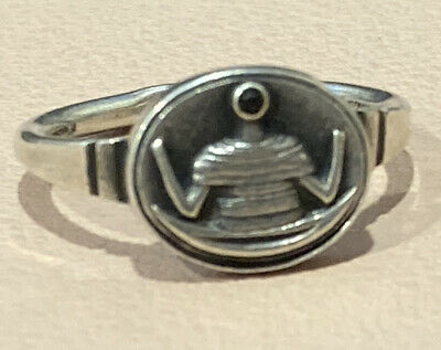 "Vintage Russian Silver 875 Signet Ring Size ""M"" Unusual Design Soviet Union"