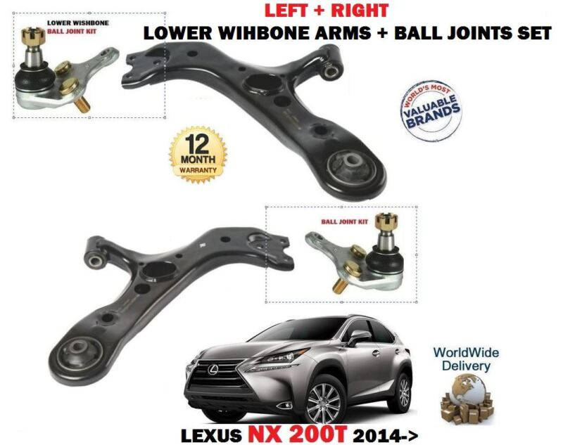 FOR LEXUS NX 200T 300H 2014->LEFT + RIGHT LOWER 2X WISHBONE ARM + BALL JOINT SET