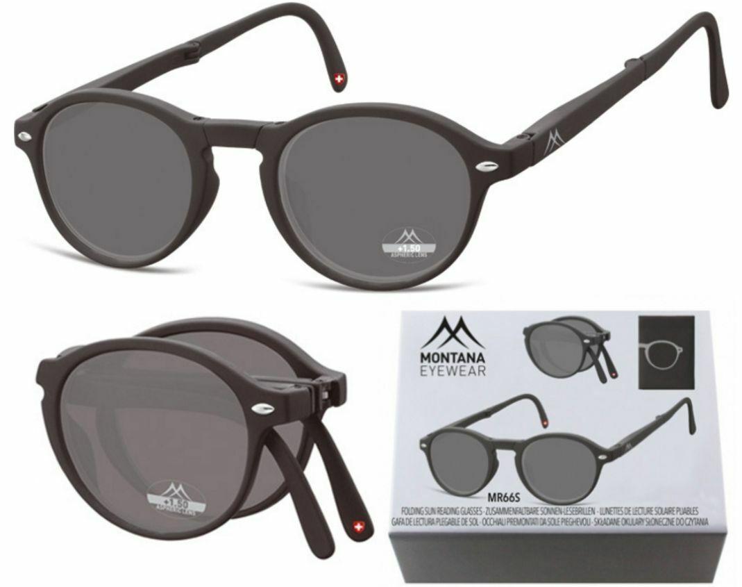 Sonnenbrille klappbar Faltbrille schwarz Lesebrille 1,0 bis 3,5 Dpt MR66S