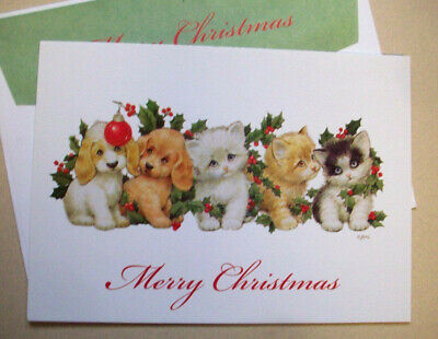 Kitten and puppies cat dog Christmas greeting card Ruth Morehead  *7F ()