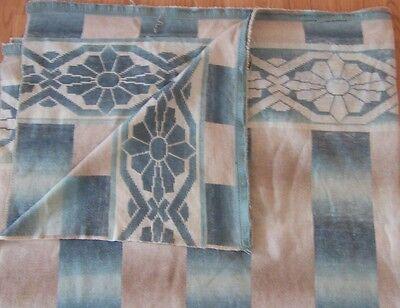 "Vtg Camp Indian Blanket Aqua Blue Reversible Border 71"" x 64"" Cutter Cotton"