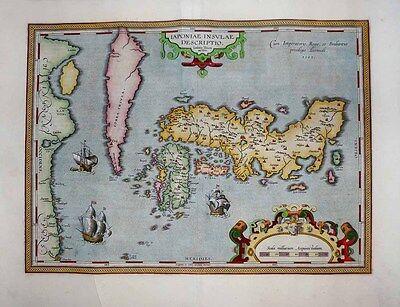 "1603 Ortelius (Teixeira) JAPAN ""Island"" of Korea, China Coast ICONIC CLASSIC MAP"