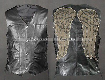 daryl dixon wings vest jacket Motorcycle vest  Angel wings vest
