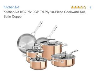 Kitchenaid 10 Pc pot set (brand new) cooper