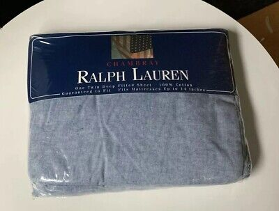 Vintage RALPH LAUREN Chambray Blue Twin FITTED Sheet NEW!! SEALED!! Made in USA ()