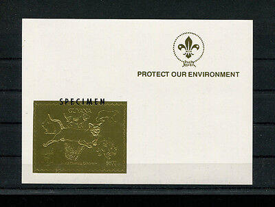 Guyana 1993 Scouts Fauna Unlisted Gold Foil Sheets Michel BL 218-19 varieties