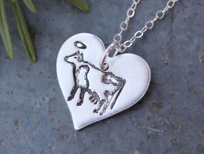 Holy Cow Necklace- handmade fine silver heart- farm- cow w/ halo, sterling (Aura Farms)