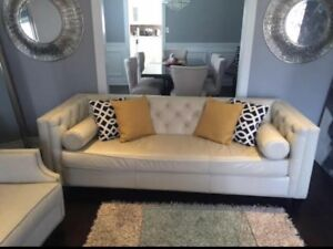 White Leather Designer Couch