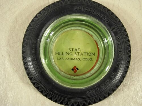 Sieberling Patrician Small Tire Ashtray Green Glass Insert Star Gas Station CO