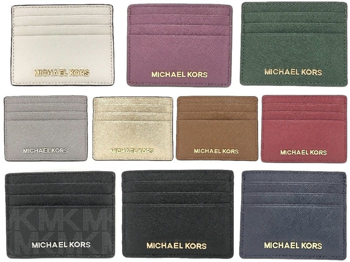 Michael Kors Jet Set Travel Large Leather Credit Card Holder (Select Color) Clothing, Shoes & Accessories