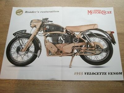 1955 VELOCETTE VENOM  double sided press Advert - 40 x 30cm POSTER SIZE