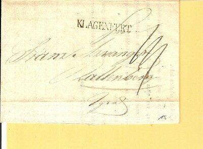 Österreich / KLAGENFURT L1 auf Pracht-Brief 1835 m. gedr. Inhalt