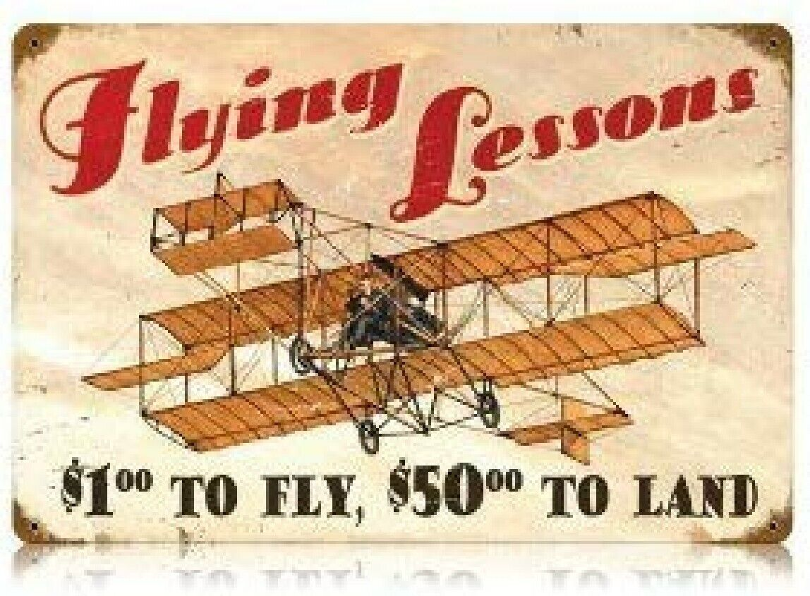 Flying Lessons Aviation Vintage Metal Sign 18 x 12 Inches
