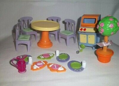 1998 FISHER PRICE Loving Family TABLE Chairs GRILL Tree Serving Trays Set Lot