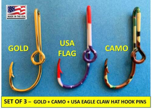GOLD + CAMO + USA FLAG --> EAGLE CLAW FISH HOOK HAT PIN MONEY CLIP -  Set of 3!