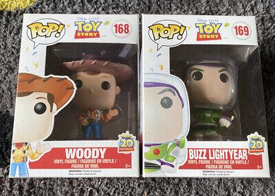 Sheriff Woody & Buzz Lightyear Funko Pop Vinyl Toy Story Disney Bundle 168 & 169