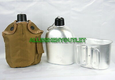 3 PC Military Style 1 QUART QT ALUMINUM CANTEEN w/ CANTEEN CUP & 1QT COVER NEW