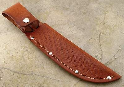 """Knife Sheath Leather Basketweave up to 6 1/4"""" Fixed Blade Standard Straight"""