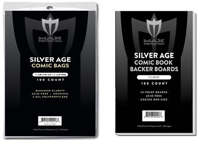 200 Silver Comic Bags and Boards - NEW Max Archival Safe Book Storage Acid Free