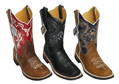 Men Cowboy Genuine Cowhide Leather PLAIN square toe rodeo western BOOTS -