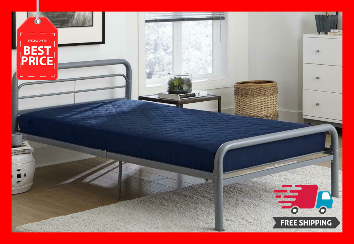 """6"""" Quilted Mattress Navy Blue Twin Size Memory Foam Home Bed"""
