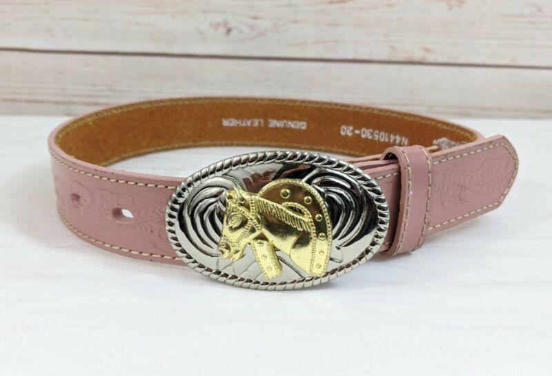 "Nocona Western Leather Belt Kids Girls 20"" Horse Buckle Southwest Texas Pink"
