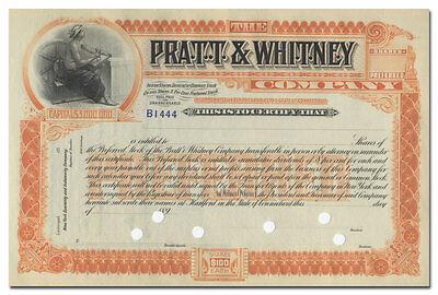 Pratt & Whitney Company Stock Certificate