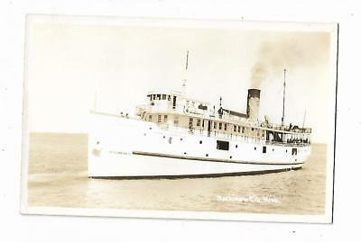 Old Real Picture Postcard Mackinaw City Michigan Al Gomah II Steamship Boat Ship