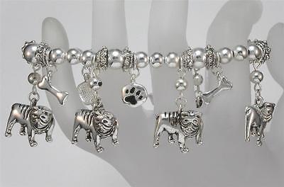 Bulldog Silver Tone Stretch - Bulldog Bracelets