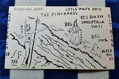 Ham Cb Radio Qsl Trading Card  Running Bear   Little White Dove   Sarepta La