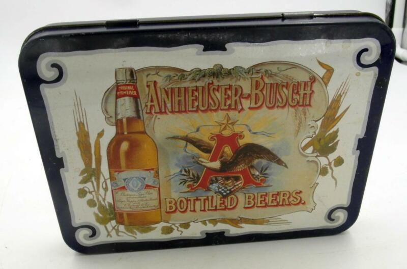 1988 ANHEUSER-BUSCH BEER 2 DECK PLAYING CARDS SET IN OLD FASHION STYLE TIN BOX
