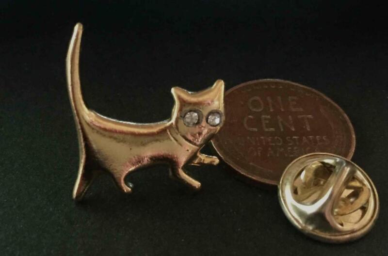 Vintage 19 x 21mm Gold Tone Metal Cat Tie Tac Pin Rhinestone Eyes