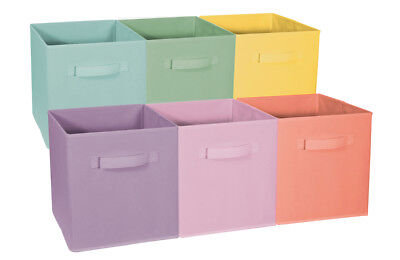 Sorbus Foldable Storage Cube Basket Bin(Pastel Multi-Color, 6 Pack) - Storage Cube Baskets