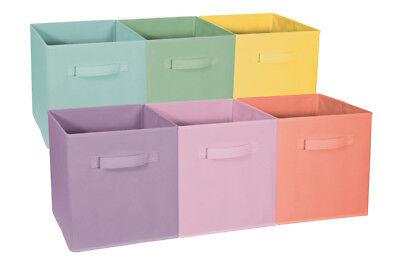 Sorbus Foldable Storage Cube Basket Bin(Pastel Multi-Color, 6 (Folding Storage Cube)