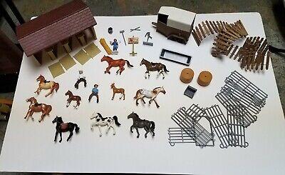 Vintage Breyer New Ray Barn Stall Trailer Horses Men Fence & Accessories
