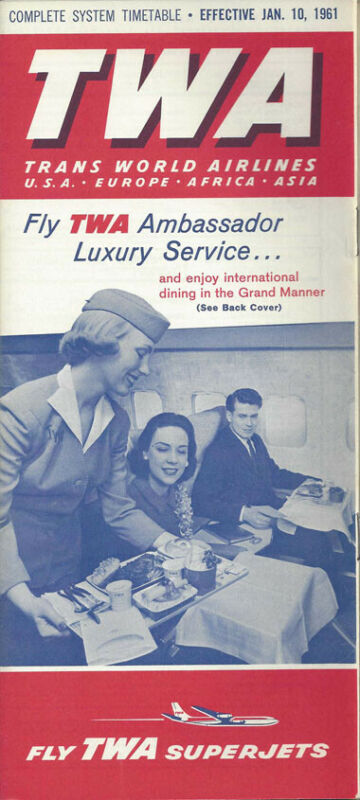 TWA Trans World Airlines system timetable 1/10/61 [0098]