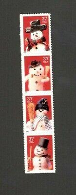 3676-79 Christmas Snowmen Strip Of 4 Mint/nh (Free Shipping) (Christmas Snowmen)