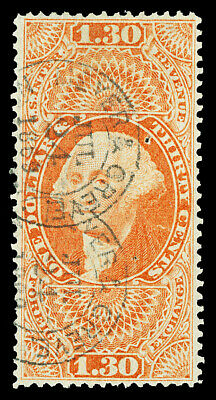 Scott R77c 1863 $1.30 For'n Exch Fully Perforated Revenue Issue Used VF Cat $120