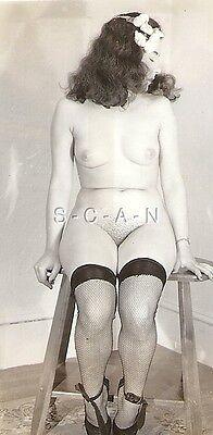 Org Vintage 40s-50s Nude RP- Endowed Woman- Panties Off- Sits in Chair- Fishnets