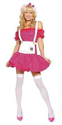 Sexy Sweet Strawberry Halloween Costume Shortcake Polka Dot Country Farm Girl