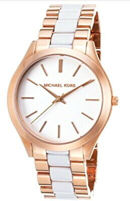 NEW Michael Kors Women's Slim Runway Rose Gold & White Acetate Watch MK4311 $225