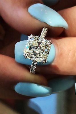 3.35 Ct Cushion Cut Diamond Engagement Ring Round Pave H,VS2 GIA Platinum 1