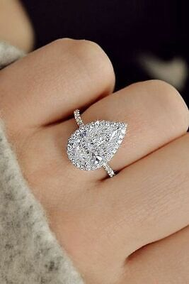 Gorgeous 2.00 ct. Pear Cut Diamond Halo Pave Engagement Ring GIA H, VS2 18k