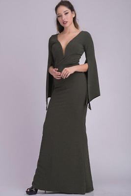 Dark Green Slit Angel Sleeve Druid Goddess Gown Evening Long 284 mv Dress S M - Green Goddess Dress