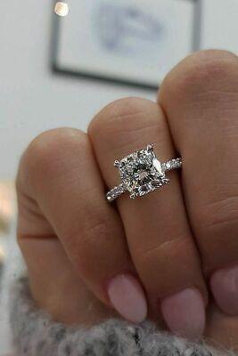 2.35 Ct Cushion Cut Diamond Engagement Ring Solitaire Pave  G,VS2 EGL Platinum 1