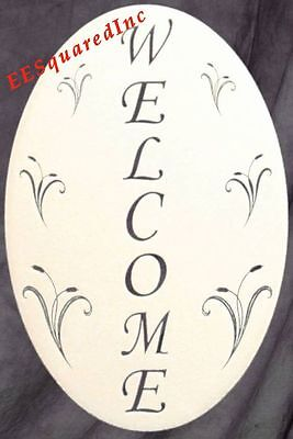 Welcome Sign Window Decal - 10x16 OVAL Static Cling Glass Door and Window Decor Static Cling Window Signs